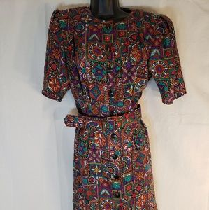 Adrianna  Papell 100% silk stained glass dress 8